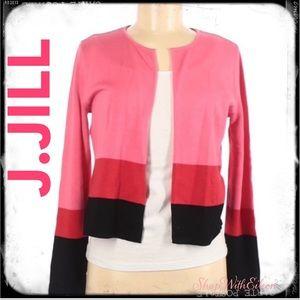 J.JILL Pink Red Black Stripe Open Front Cardigan